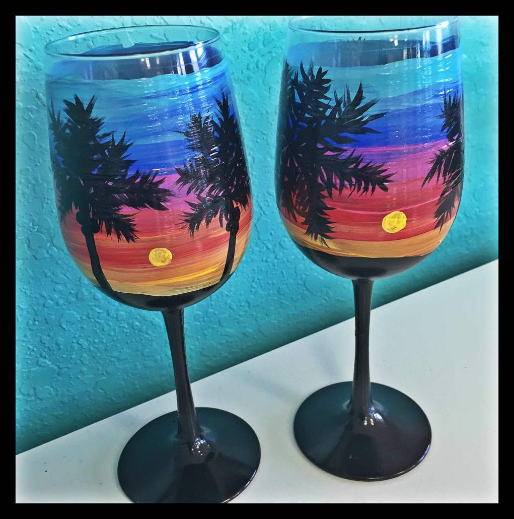 Wine glass painting a glass of paradise outer banks for Wine paint party