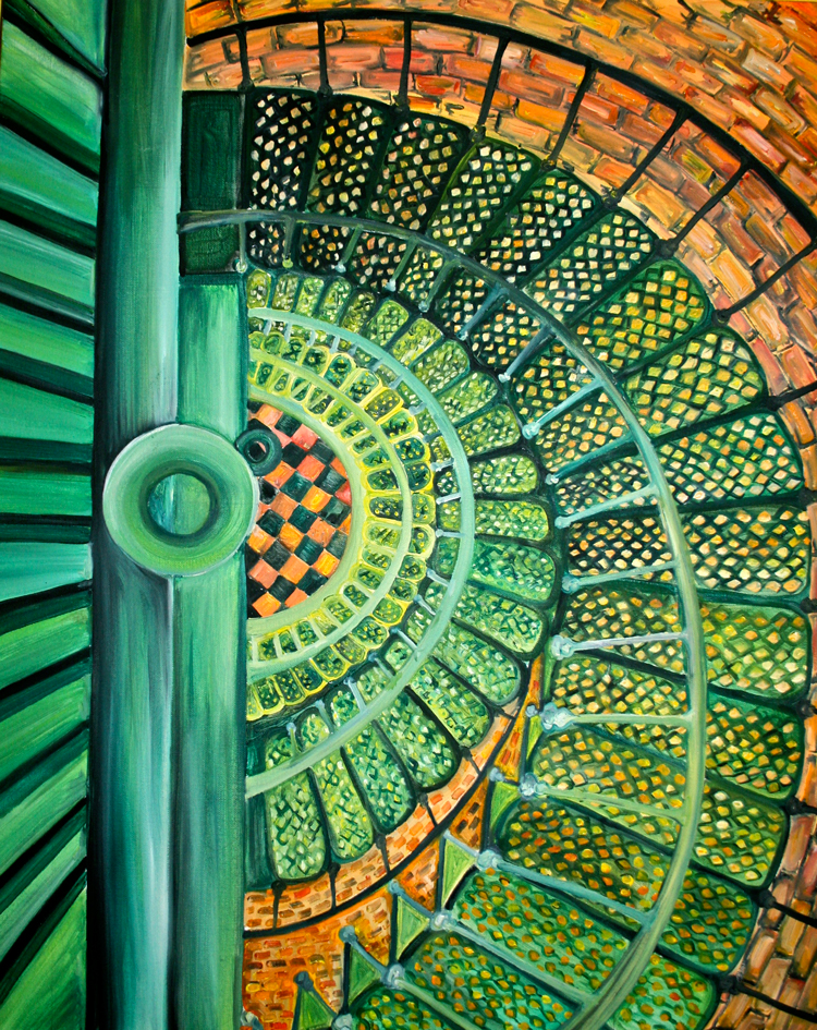 Currituck beach lighthouse interior outer banks painting for Light house interior