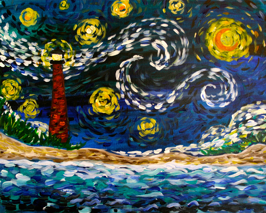 Painting Classes | Wine & Painting Parties: Starry Night OBX - Mini | Paint  Party at Local Color