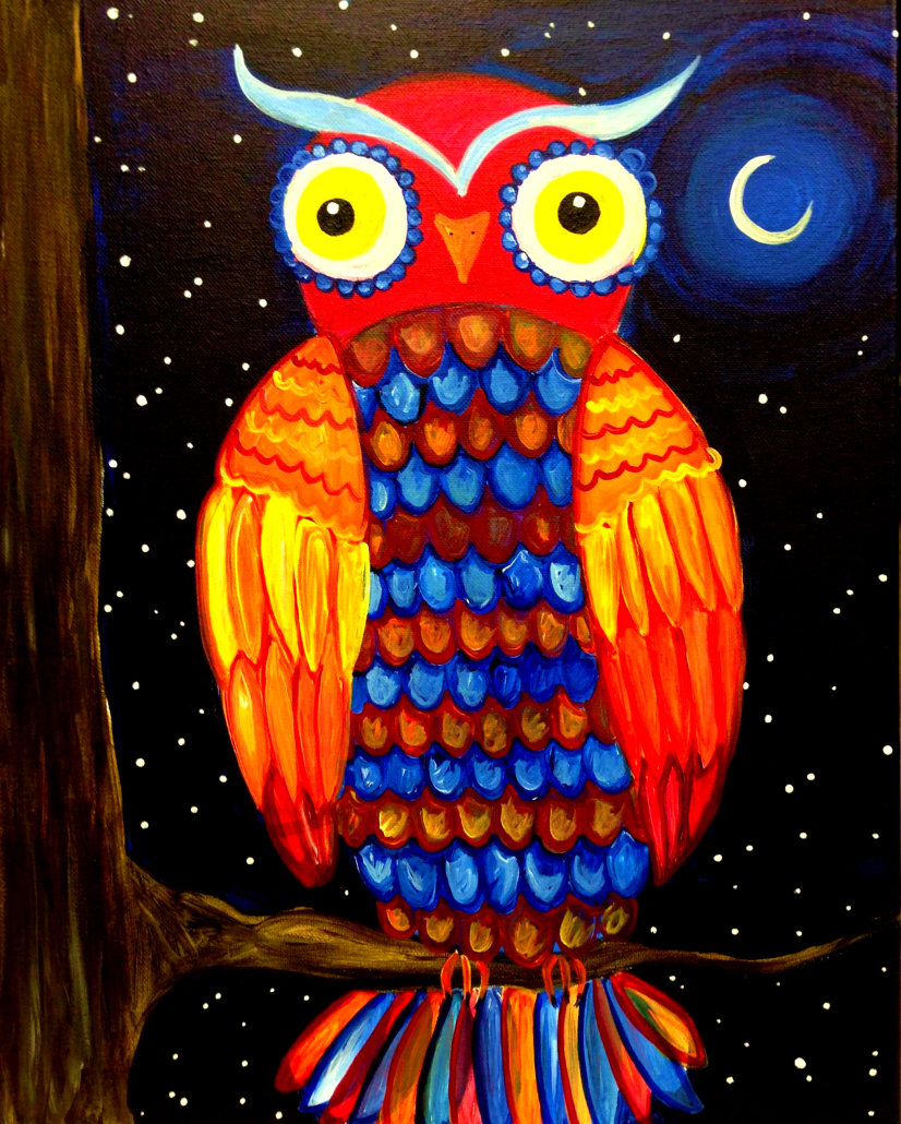 Night owl mini outer banks painting parties classes for Night owl paint color