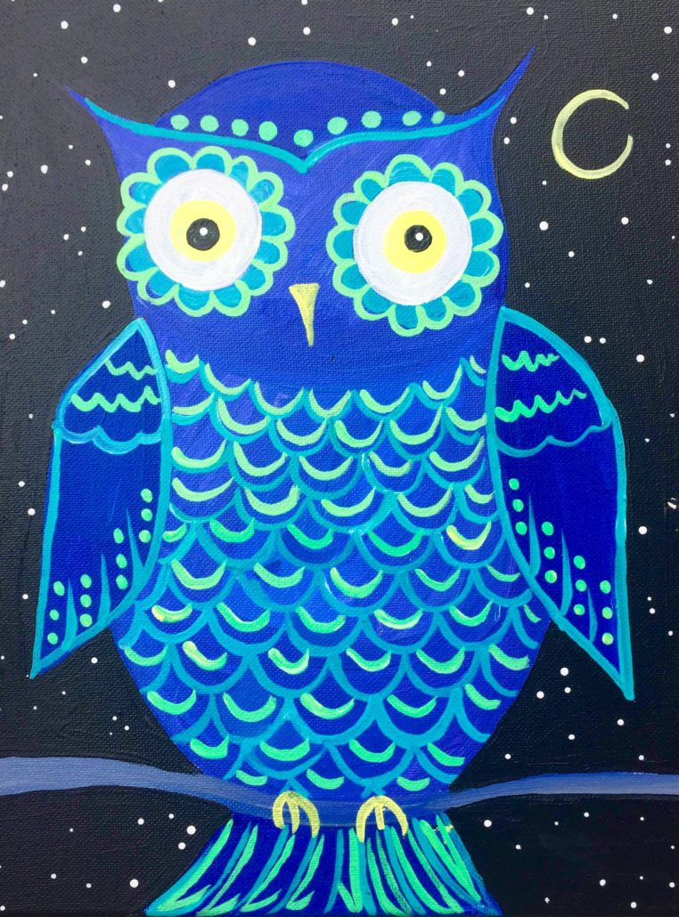 Night owl december 1st outer banks painting parties for Night owl paint color