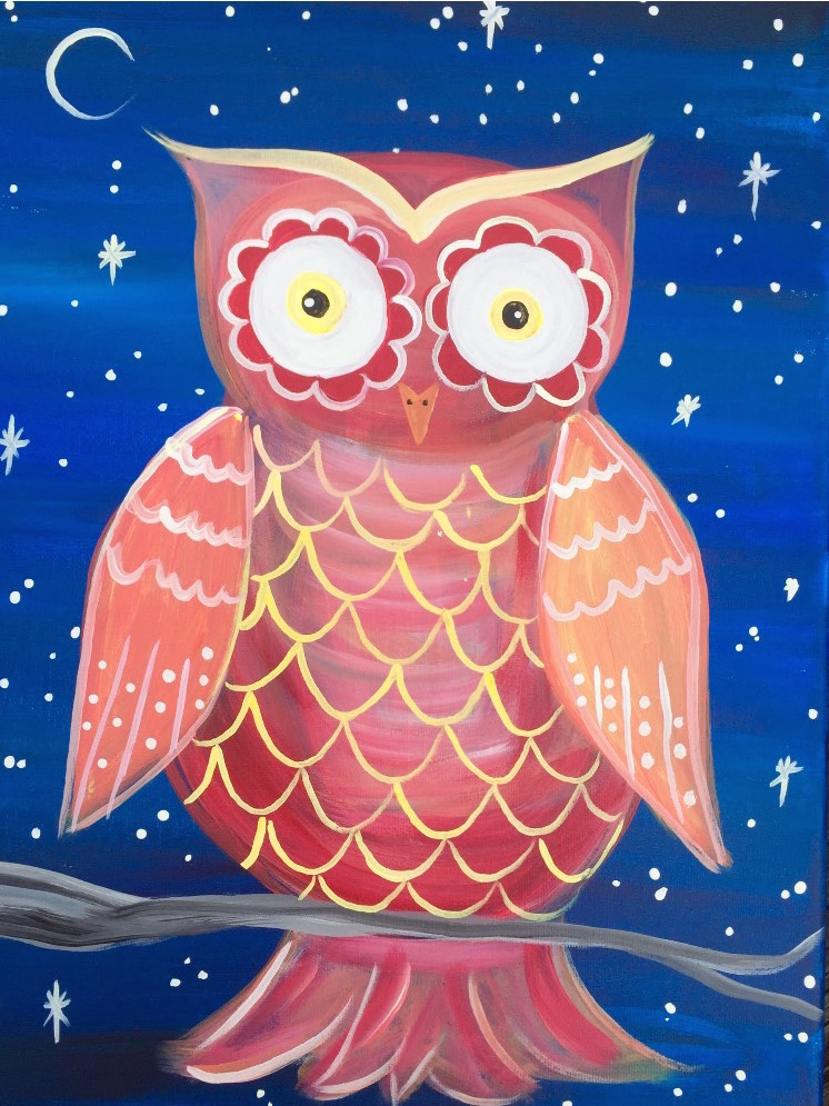 Night owl february 17th outer banks painting parties for Night owl paint color