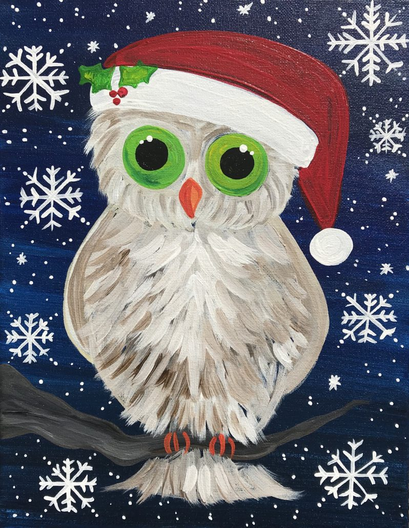 Christmas Owl.Painting Classes Wine Painting Parties Christmas Owl Striper S Bar Grille December 6th Paint Party At Local Color